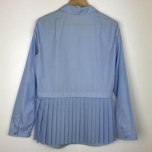 Akris Punto Blue Pleated-Back Half-Button Blouse